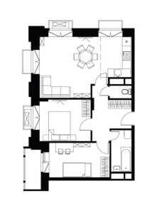Планировка 3-комнатной квартиры в Лайково - тип 1